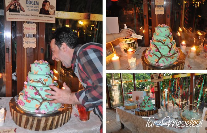 Mint Kır Düğünü Pastası
