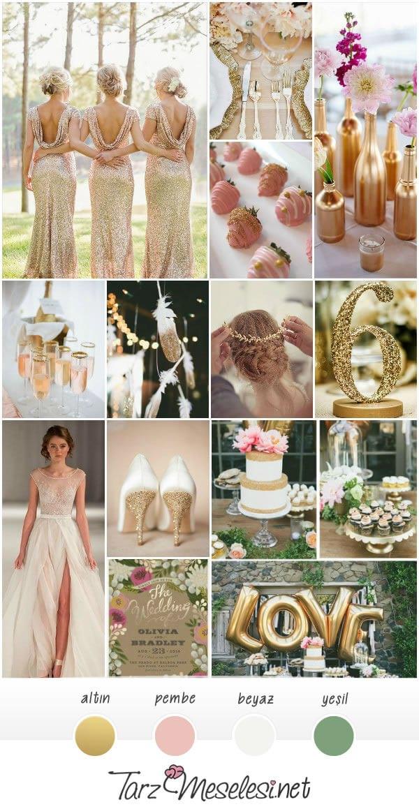 Pembe - Altın Düğün Paleti